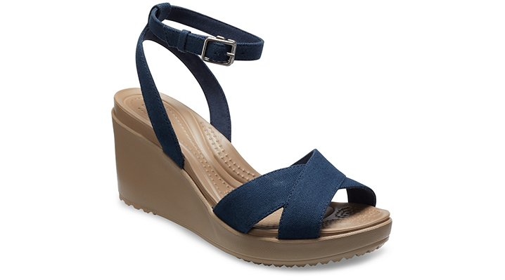 Crocs Navy / Tumbleweed Women's Leigh Ii Cross-Strap Ankle Wedge Shoes