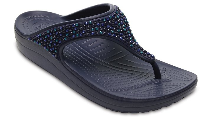 Crocs Navy / Turquoise Women's Crocs Sloane Embellished Flip Shoes