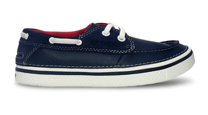 Crocs Navy / White Kids' Hover Leather Boat Shoe Kids' Comfortable Deck Shoe