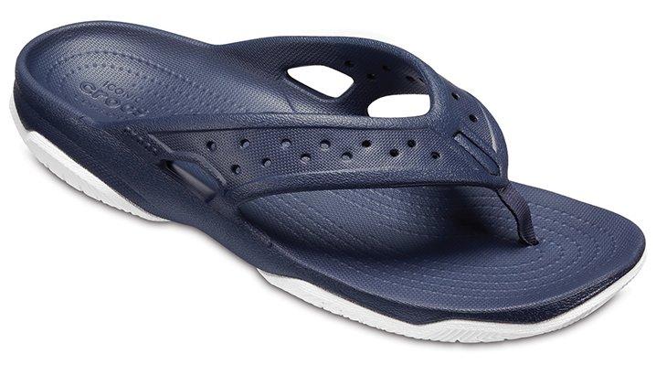 Crocs Navy / White Men's Swiftwater Deck Flips Shoes
