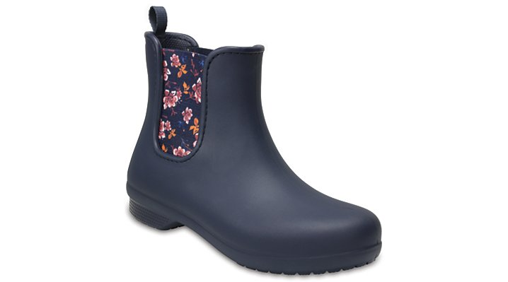 Crocs Navy/Floral Women's Crocs Freesail Chelsea Boot Shoes