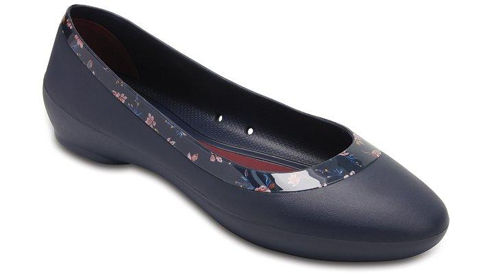 Crocs Navy/Floral Women's Crocs Lina Shiny Graphic Flat Shoes