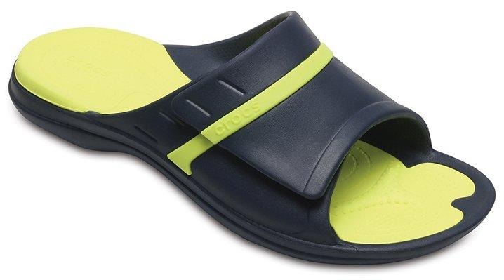 Crocs Navy/Tennis Ball Green Modi Sport Slides Shoes