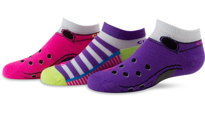 Crocs Neon Pink / Neon Girls' No-Show Clog Socks Shoes $ 2.99