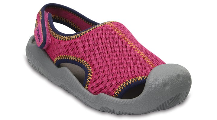 Crocs Neon Pink / Smoke Kids' Swiftwater Sandals Shoes