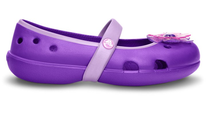 Crocs Neon Purple / Iris Girls' Keeley Flower Flat (Children's) Shoes