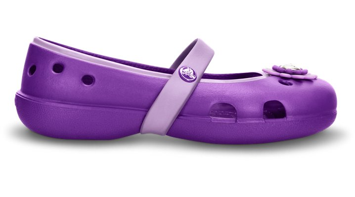 Crocs Neon Purple / Iris Girls' Keeley Petal Charm Flat (Children'S) Shoes