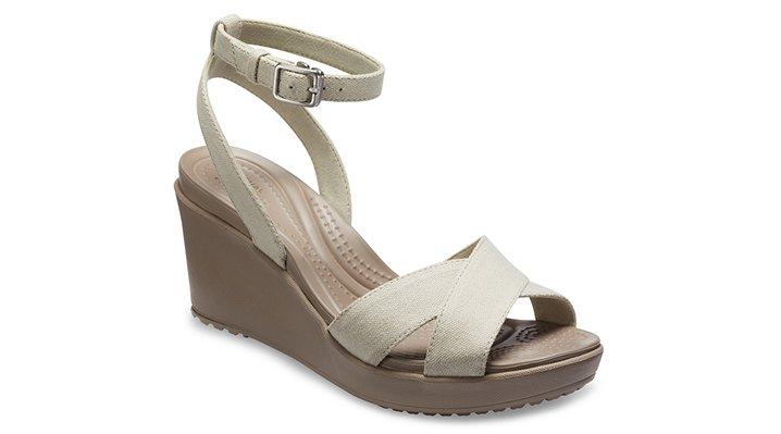 Crocs Oat / Mushroom Women's Leigh Ii Cross-Strap Ankle Wedge Shoes