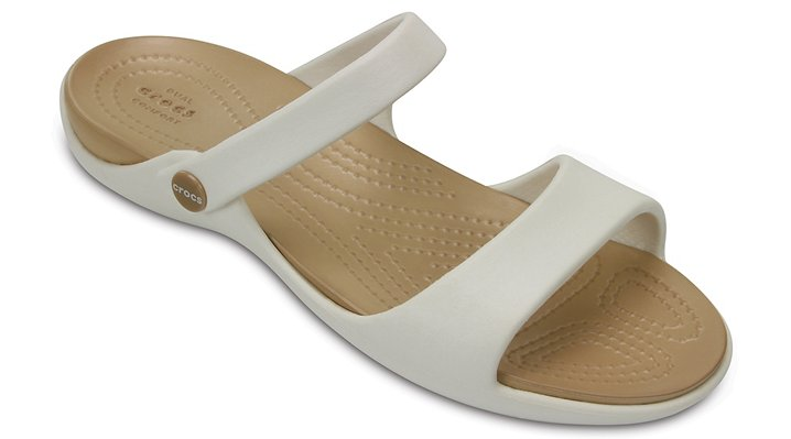Crocs Oyster / Gold Women's Cleo V Sandals Shoes