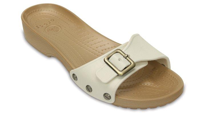 Crocs Oyster / Gold Women'S Crocs Sarah Sandal Shoes