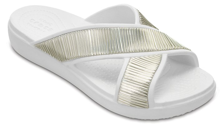 Crocs Oyster / Gold Women's Crocs Sloane Embellished Cross-Strap Sandals Shoes