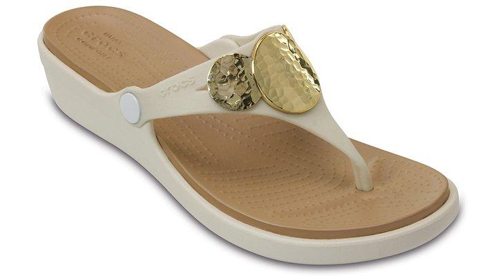 Crocs Oyster / Gold Women's Sanrah Embellished Wedge Flip Shoes