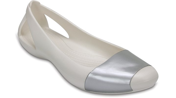 Crocs Oyster / Silver Women'S Crocs Sienna Shiny Flat Shoes