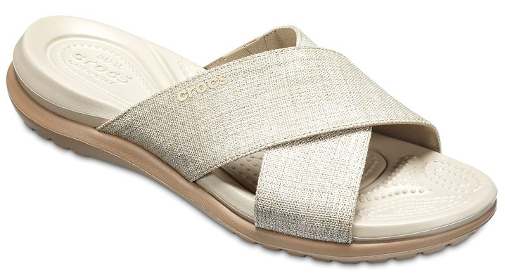 Crocs Oyster/Cobblestone Women's Capri Shimmer Cross-Band Sandals Shoes