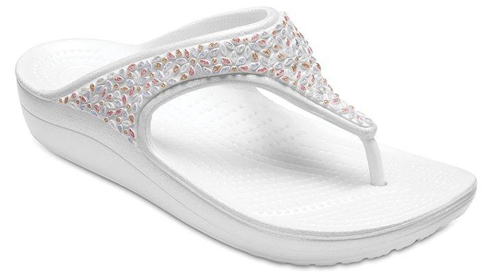 Crocs Oyster/Multi Women's Crocs Sloane Embellished Flip Shoes