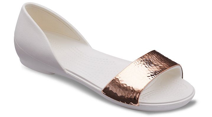 Crocs Oyster/Rose Gold Women's Crocs Lina D'orsay Hammered Metallic Flat Shoes