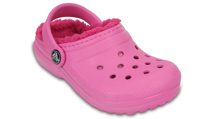 Crocs Party Pink / Candy Pink Kids' Classic Fuzz Lined Clog Shoes