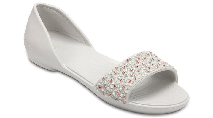 Crocs Pearl White / Rose Gold Women's Crocs Lina Embellished D'orsay Flat Shoes
