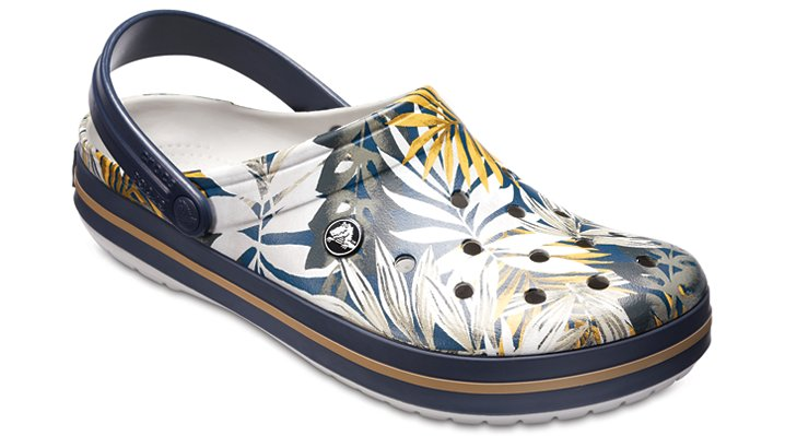 Crocs Pearl / Navy Crocband™ Graphic Clog Shoes 204553152