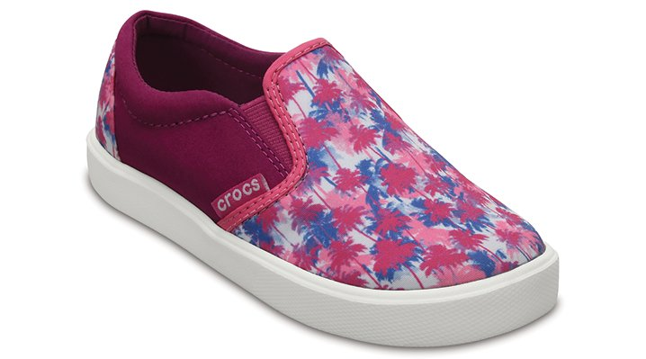 Crocs Pink Palm Kids' Citilane Novelty Slip-Ons Shoes