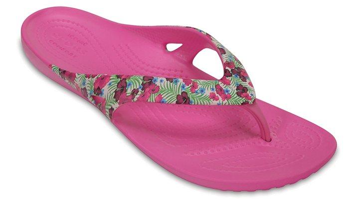 Crocs Pink / Fluorescent Women's Kadee Ii Graphic Flip Shoes
