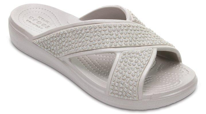 Crocs Platinum Women's Crocs Sloane Embellished Cross-Strap Sandals Shoes