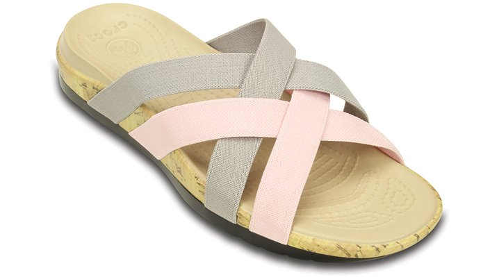 Crocs Platinum / Pearl Pink Women's Crocs Edie Stretch Sandal Shoes