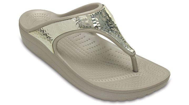 Crocs Platinum / Platinum Women's Crocs Sloane Embellished Flip Shoes
