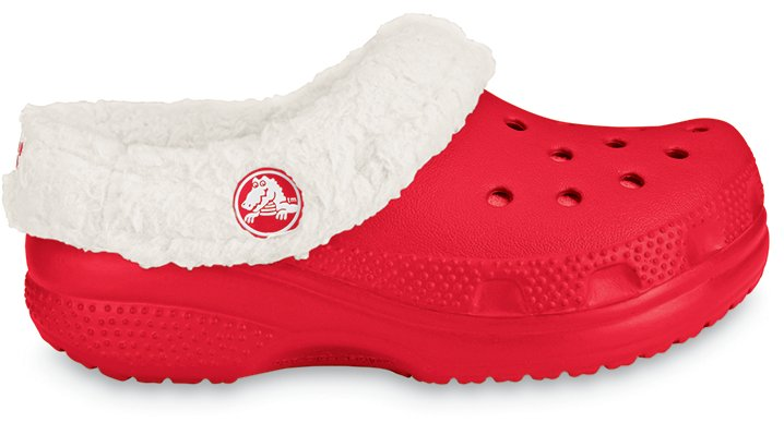 Crocs Red / Oatmeal Kids` Mammoth Comfortable Furry Clog