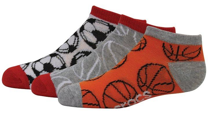 Crocs Red / Orange Boys' Low Fashion Socks 3-Pack Shoes