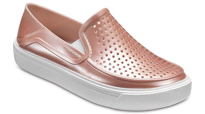 Crocs Rose Dust Kids' Citilane Roka Metallic Slip-Ons Shoes