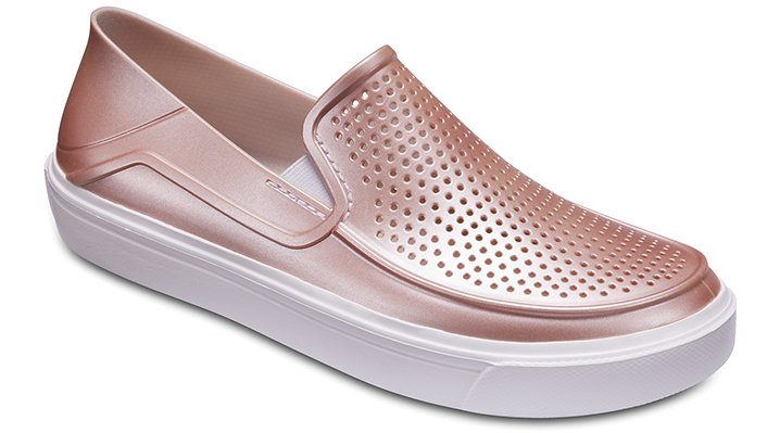 Crocs Rose Dust Women's Citilane Roka Metallic Slip-Ons Shoes