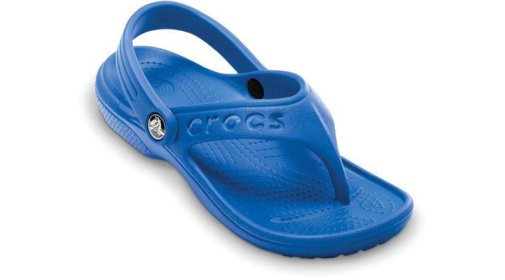 Crocs Sea Blue Baya Flip Kids Comfortable Flip Flops For KidsBack Strap Included On Sizes C6/7 Through C10/11 Only. No Strap On Sizes C12/13 Through J3.