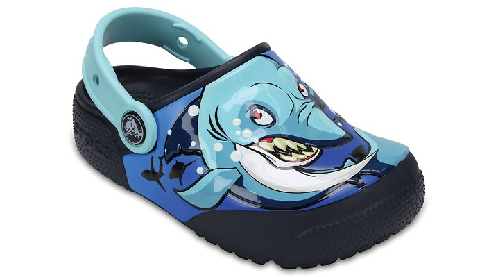Crocs Shark / Navy Kids' Crocs Fun Lab Lights Clogs Shoes
