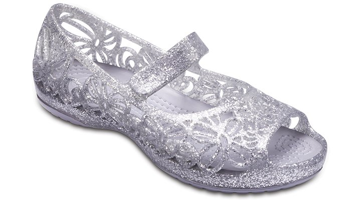 Crocs Silver Crocs Isabella Glitter Flat (Children'S) Shoes