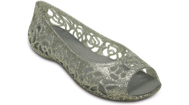 Crocs Silver Crocs Isabella Glitter Flat (Juniors') Shoes