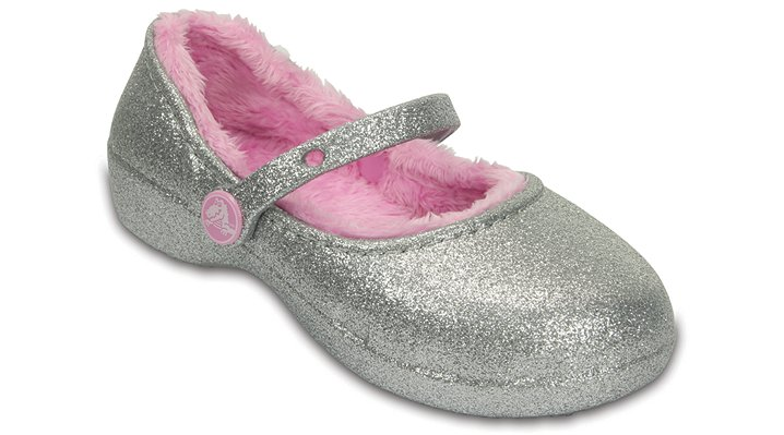 Crocs Silver Kids' Crocs Karin Sparkle Fuzz Lined Clog Shoes