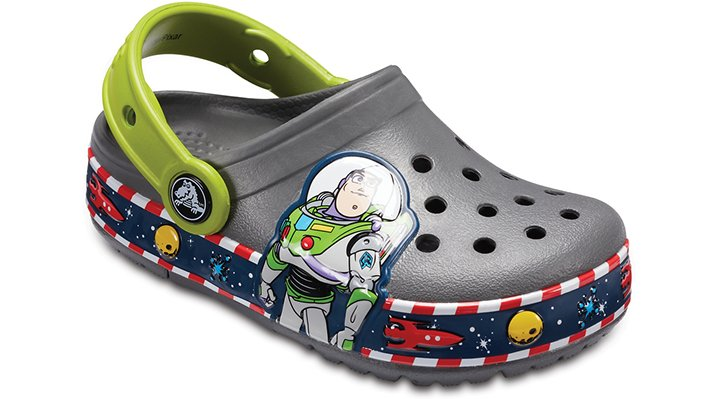 Crocs Slate Grey Kids' Crocband™ Fun Lab Buzz Lights Clogs Shoes