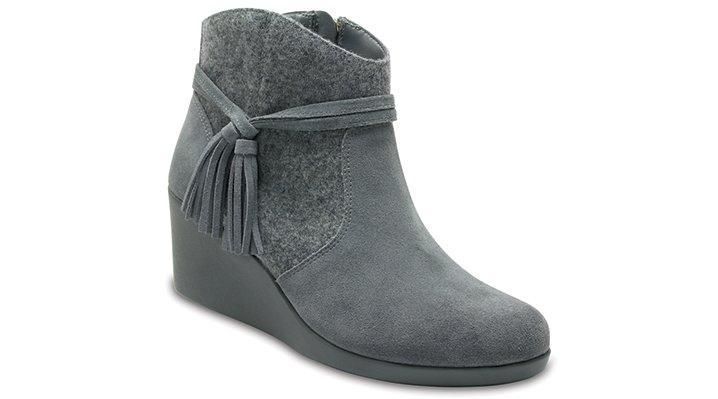 Crocs Slate Grey Women's Crocs Leigh Suede Mix Bootie Shoes