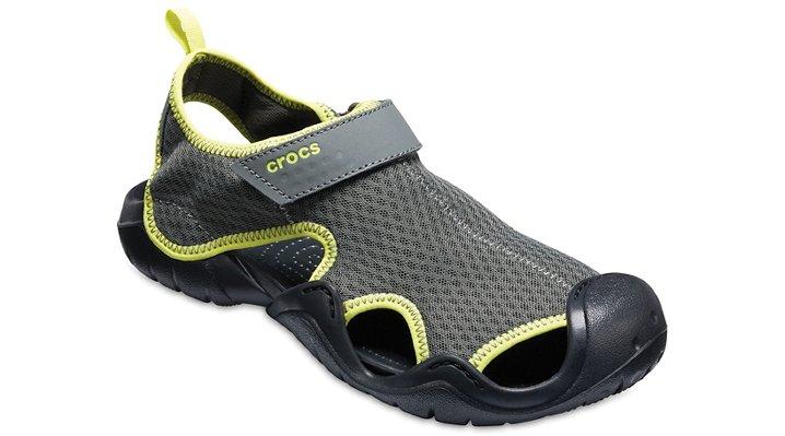 Crocs Slate Grey/Tennis Ball Green Men'S Swiftwater Sandal Shoes 1504108I