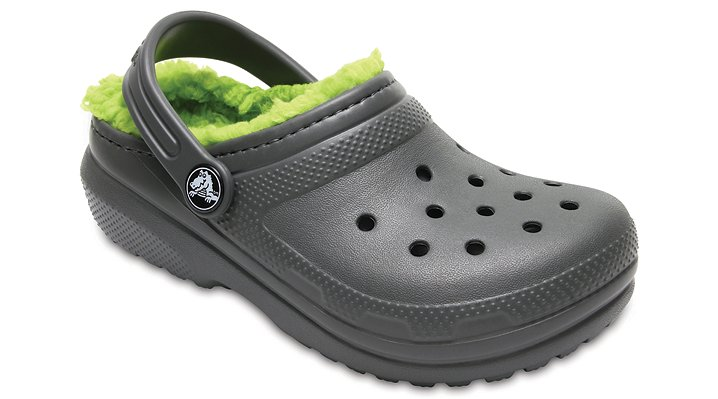 Crocs Slate Grey/Volt Green Kids' Classic Fuzz Lined Clog Shoes