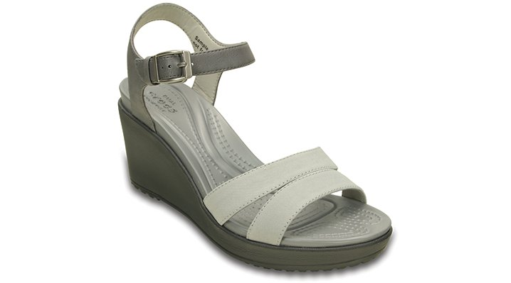 Crocs Smoke / Charcoal Women'S Leigh Ii Ankle Strap Wedge Shoes