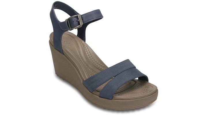 Crocs Storm / Mushroom Women'S Leigh Ii Ankle Strap Wedge Shoes