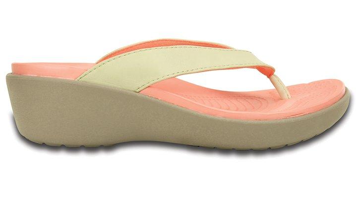 7bf9c7a00dc8 Crocs Sanrah Embellished Black Wedge Flip Flops Womens Size 6