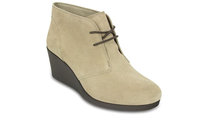 Crocs Tan Women's Leigh Suede Wedge Shootie Shoes
