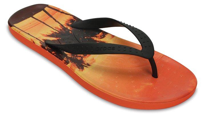 Crocs Tangerine Chawaii Tropics Graphic Flip Shoes