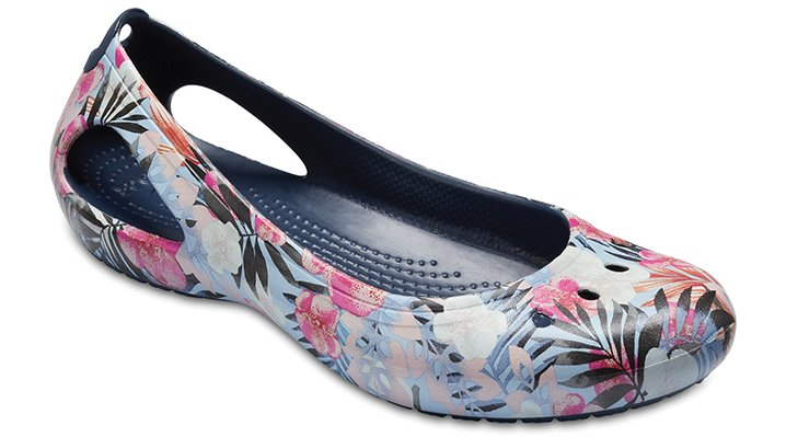 Crocs Tropical Floral/Navy Women's Kadee Graphic Flat Shoes