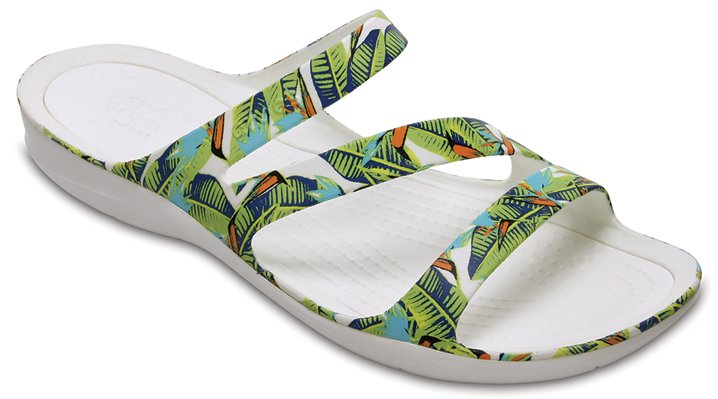Crocs Tropical/Volt Green Women's Swiftwater Graphic Sandal Shoes