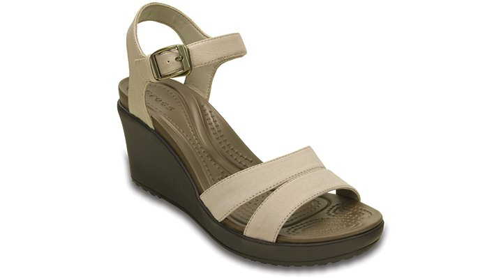 Crocs Tumbleweed / Espresso Women'S Leigh Ii Ankle Strap Wedge Shoes