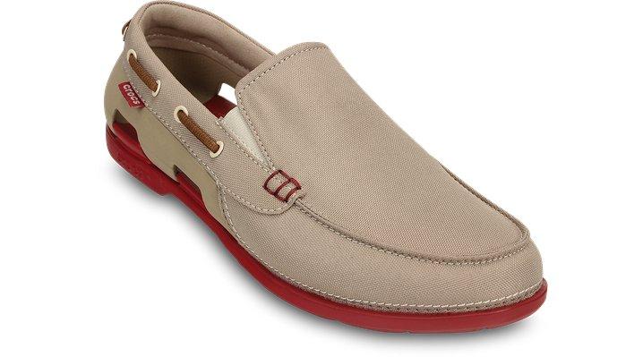 Crocs Tumbleweed / True Red Men'S Beach Line Boat Slip-On Shoes